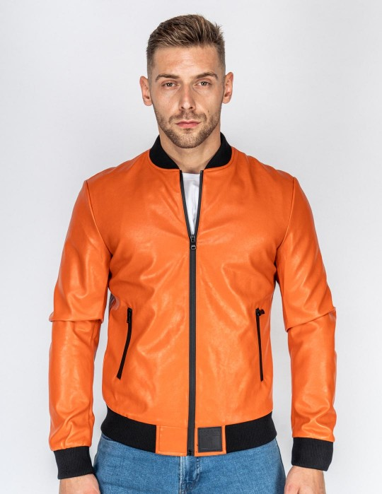 SOPRANO Leather Jacket Orange