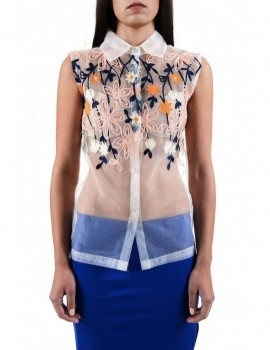 SELEPCENY TRANSPARENT EMBROIDERED SILK POLY SHIRT