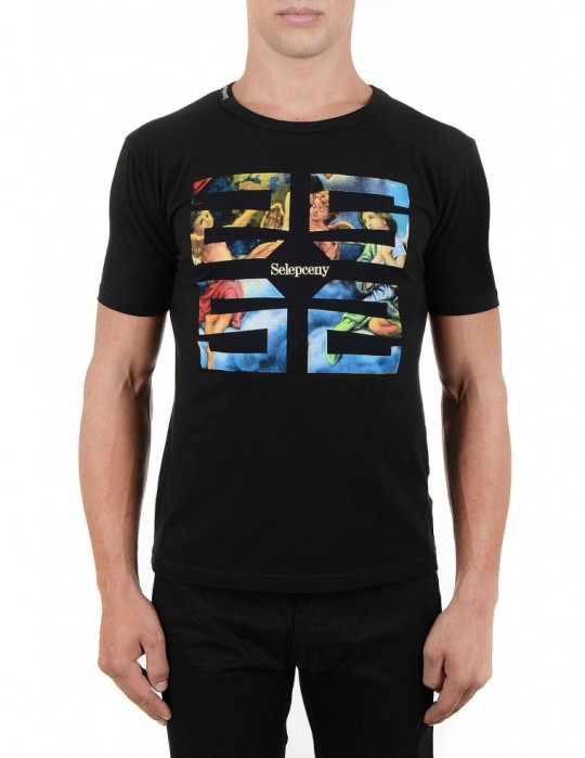 SELEPCENY COVER SCREEN-PRINTED SUPER-SOFT STRETCH COTTON T-SHIRT