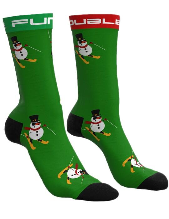 DOUBLE FUN Socks Snow Man Like A Boss Green
