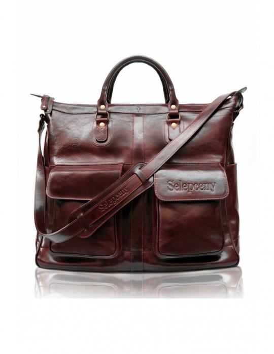 Luxusná unisex kožená kabelka Selepceny hnedá
