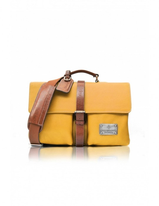 SIGNATURE ALTER YELLOW HANDMADE 100% GENUINE LEATHER BAG Selepceny