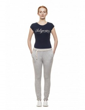 SELEPCENY BASIC GOLD EMBROIDERED BLUE COTTON T-SHIRT