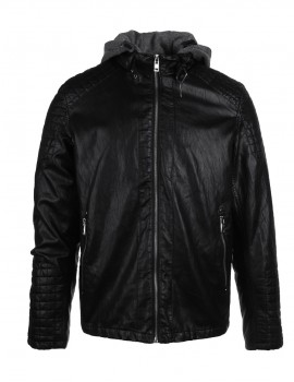 DR Faux Leather Hooded Biker Jacket Black