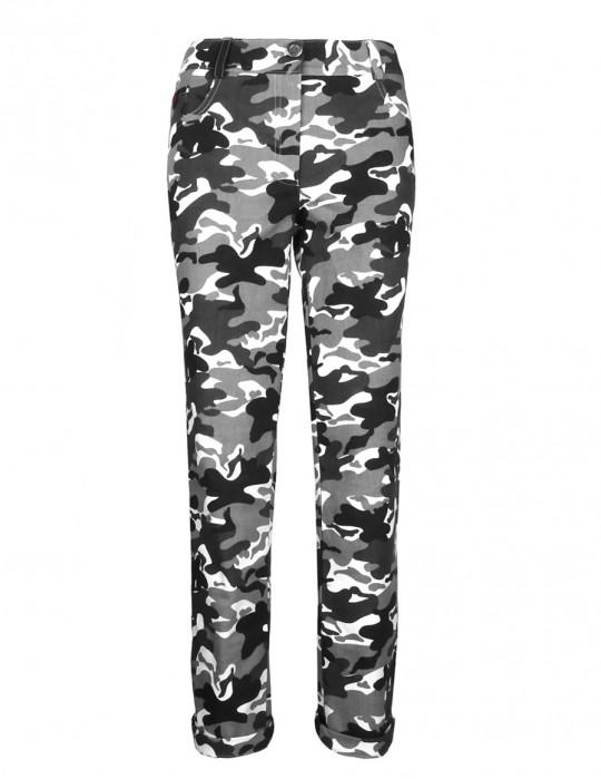 DR W Trousers Slim B&W Camo