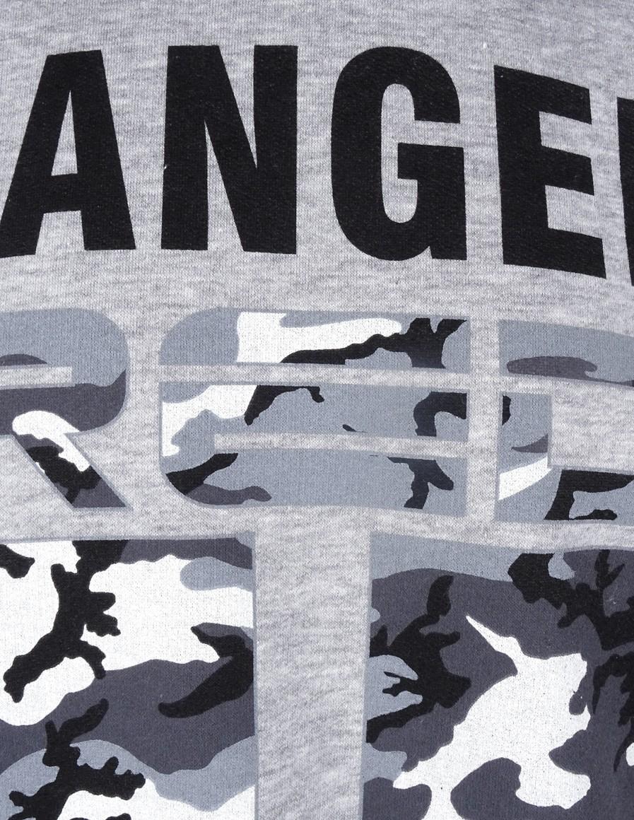 DR M Sweatshirt Danger Area B&W Logo Grey