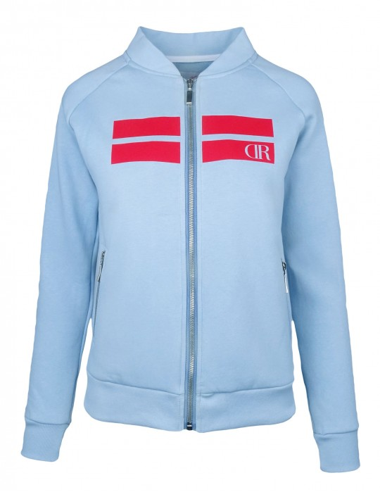 Bomber Sweatshirt Stripes Baby Blue
