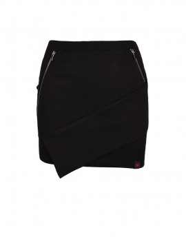 DR Babe Short Asymmetric Skirt Black