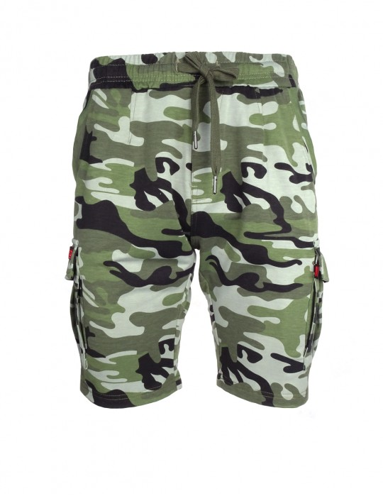 DR M Woodland Sweat Shorts Camo Light Green