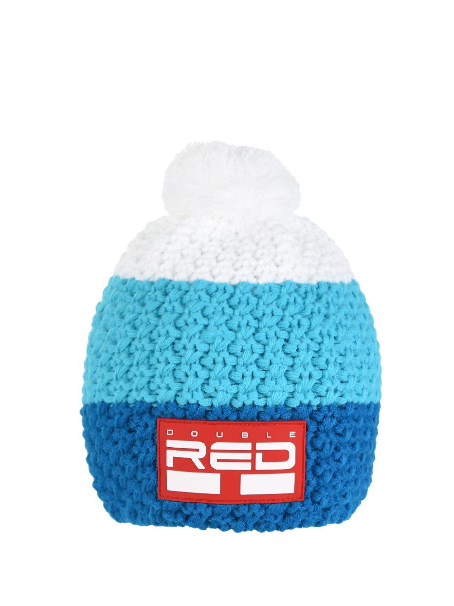 DOUBLE RED COURCHEVEL Pompom Cap Dark Blue/Blue/White