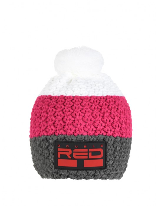 DOUBLE RED COURCHEVEL Pompom Cap Dark Grey/Pink/White