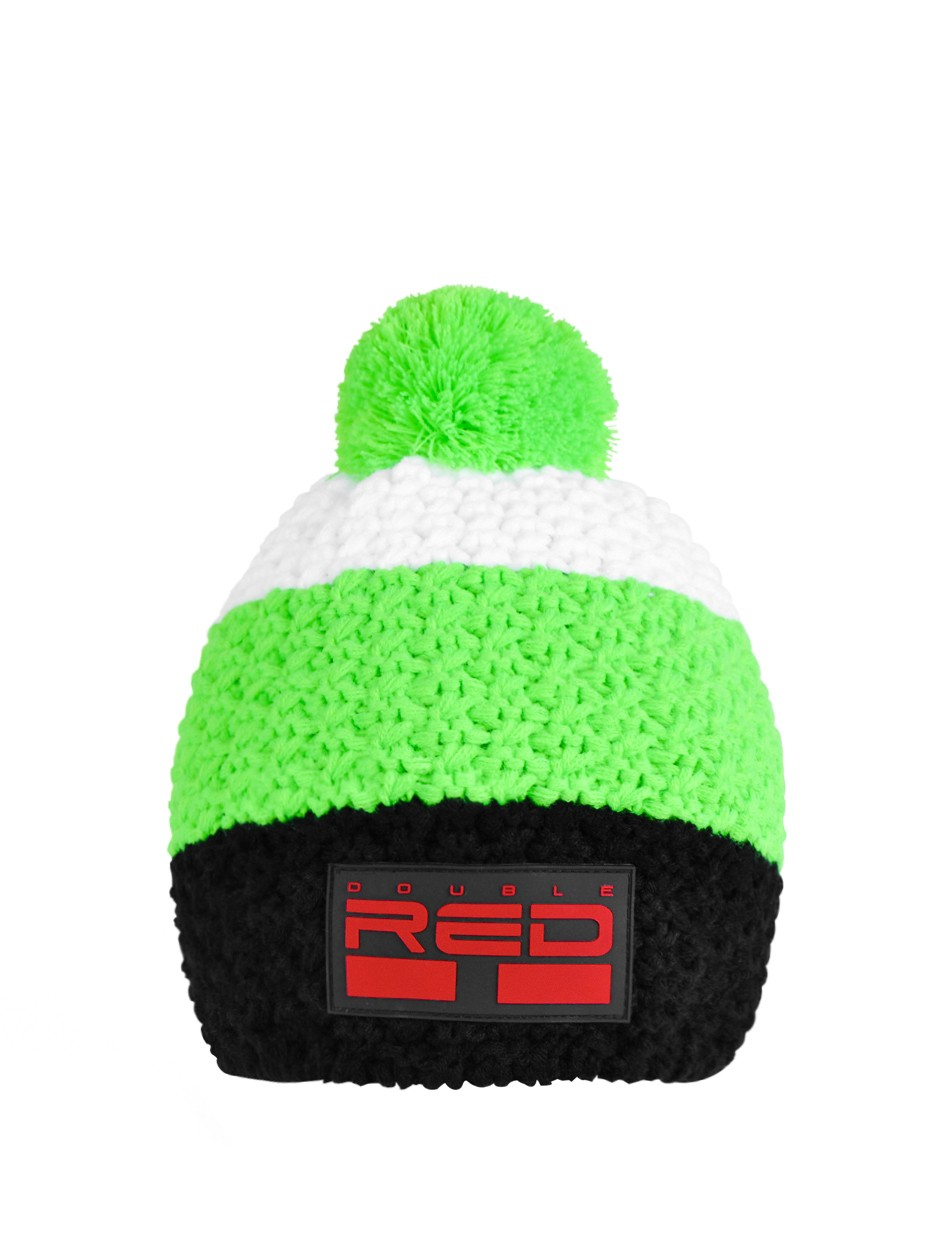 DOUBLE RED COURCHEVEL Pompom Cap Black/Green/White