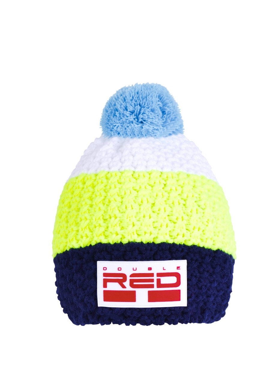 DOUBLE RED COURCHEVEL Pompom Cap Dark Blue/Yellow/White
