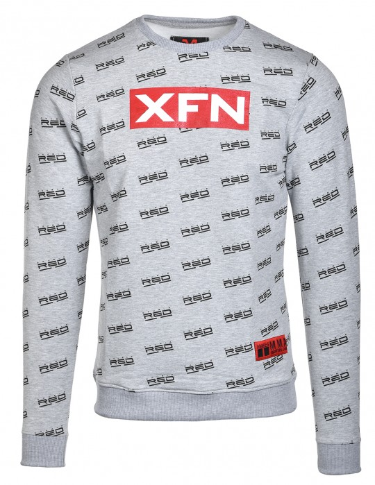 Sweatshirt XFN Fighters Club/DOUBLE RED Full Logo Grey