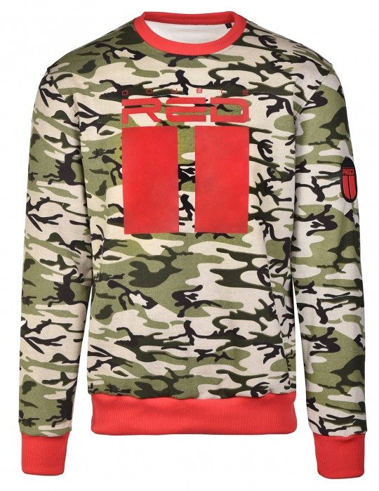 Sweatshirt All Logo Green Camo/Red