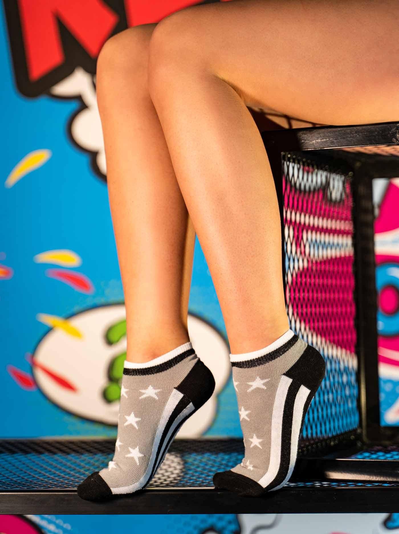 FUN Low Cut Socks Stars Grey
